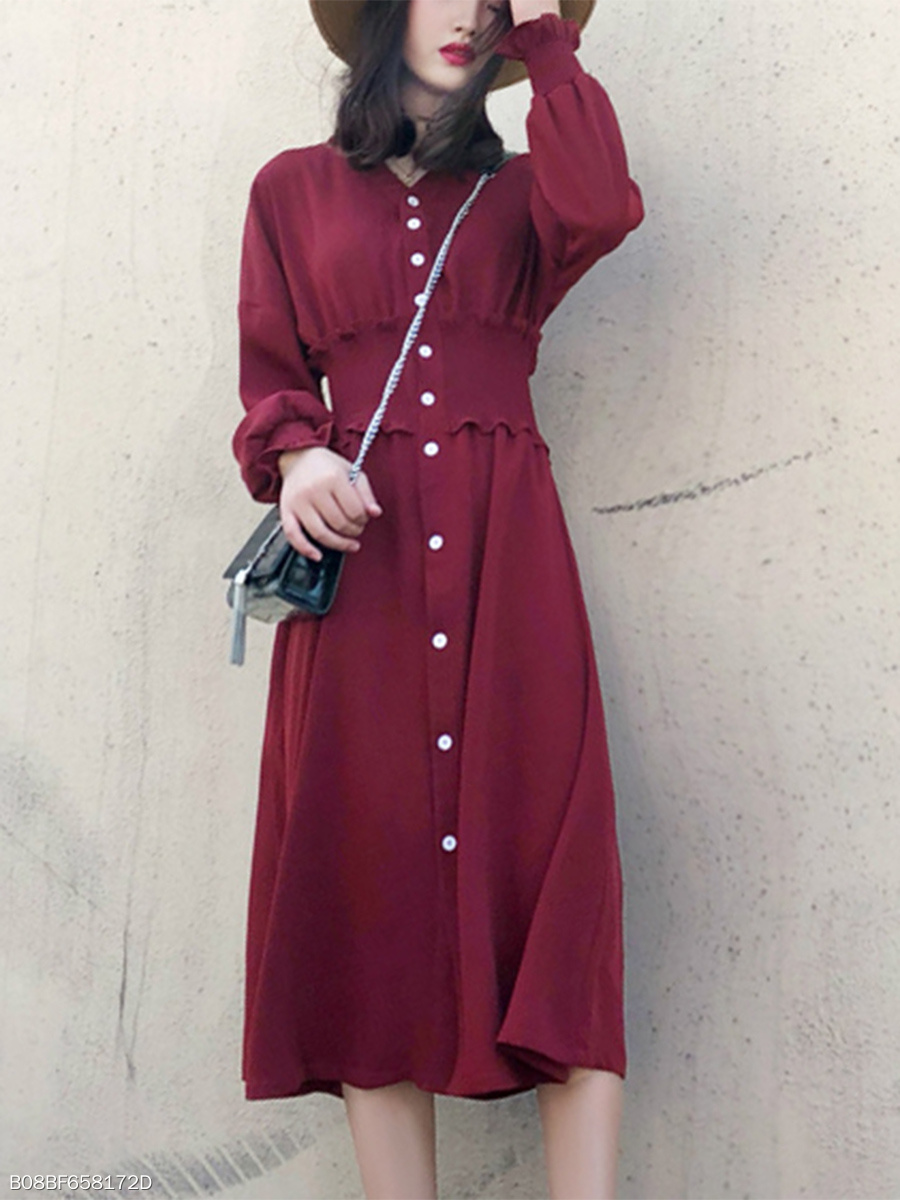 V-Neck  Elastic Waist Date Plain Maxi Dress