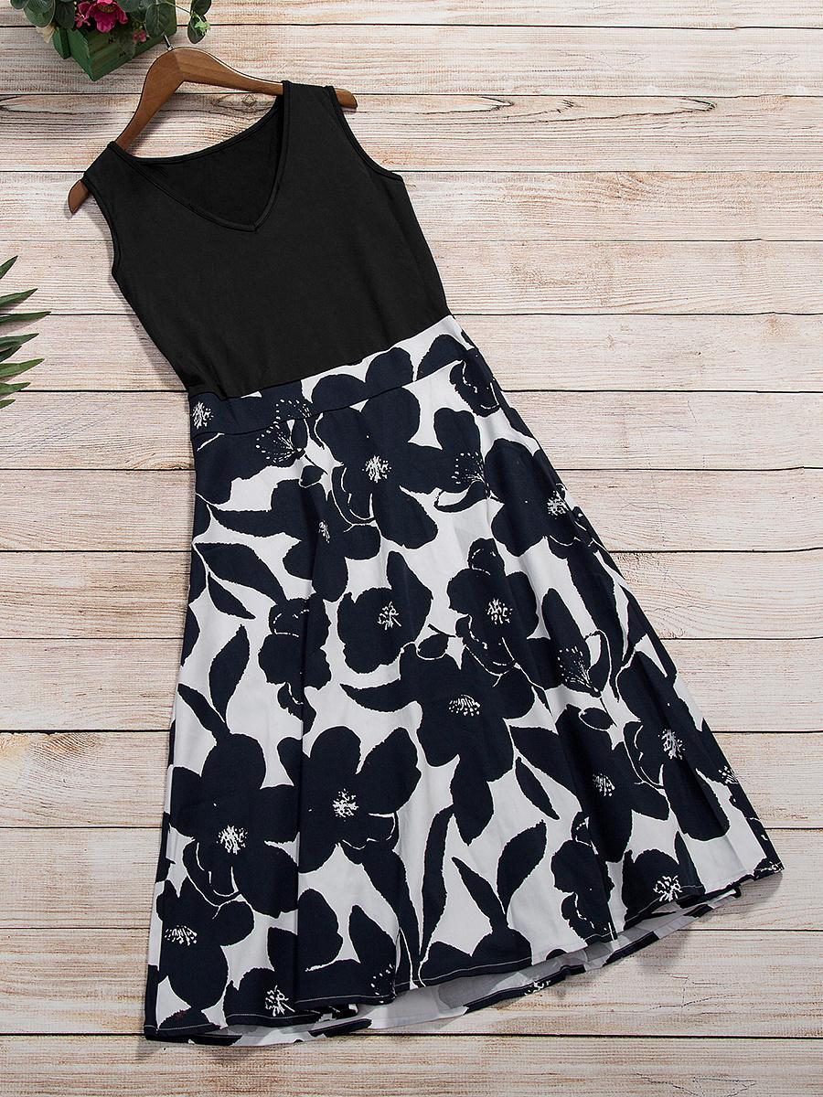 Summer Vintage V-Neck Floral Printed Skater Dress