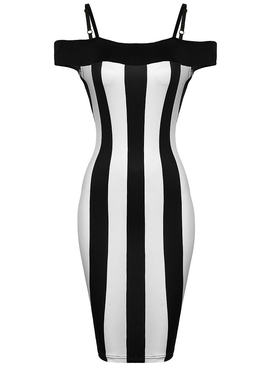Open Shoulder Black White Vertical Striped Bodycon Dress