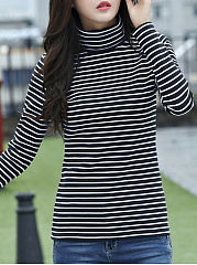 Autumn Spring  Cotton Blend  Women  Turtleneck  Striped Long Sleeve T-Shirts