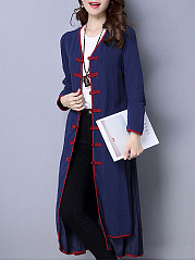 Collarless  Plain  Long Sleeve Trench Coats