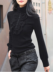 Turtleneck  Ruffle Trim  Plain Blouse