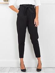 Plain-Belt-Patch-Pocket-High-Rise-Slim-Leg-Casual-Pants