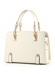 Gold Chain Handle Pu Crossbody Bag