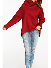 Cowl Neck  Plain  Long Sleeve Sweatshirts