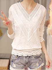 Autumn Spring  Polyester  Women  V-Neck  See-Through  Lace Plain  Long Sleeve Blouses