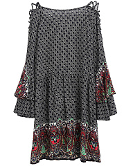 Tie Collar  Tiered  Printed  Polyester Shift Dress