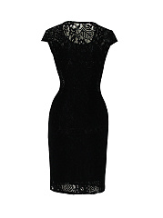 Round Neck Hollow Out Plain Classical Lace Bodycon Dress