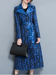 Fold-Over Collar  Belt  Floral  Long Sleeve Trench Coats