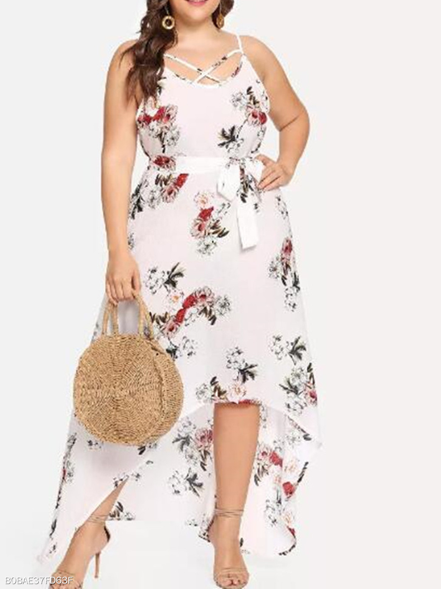 Spaghetti Strap  Asymmetric Hem  Printed Plus Size Midi & Maxi Dress