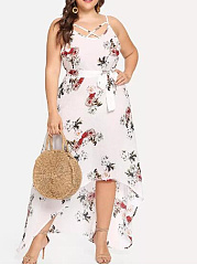 Spaghetti Strap  Asymmetric Hem  Printed Plus Size Midi  Maxi Dress