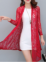 Asymmetric Hem See-Through  Floral  Long Sleeve Cardigans