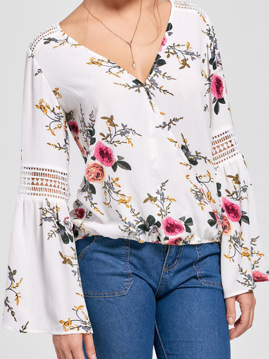 Spring Summer  Polyester  Women  V-Neck  Asymmetric Hem Decorative Lace  Floral Printed  Bell Sleeve  Long Sleeve Blouses