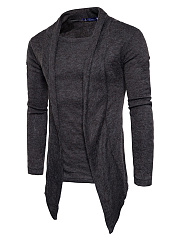 Asymmetric Hem Plain Men Fake Two-Piece Sweater