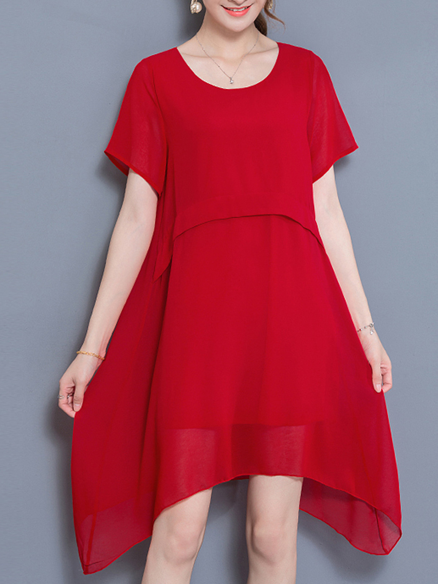 Solid Asymmetric Hem Round Neck Chiffon Shift Dress