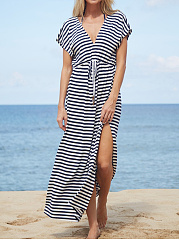 V-Neck  Drawstring Side Slit  Printed Maxi Dress