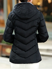 Hooded  Pocket Zips  Quilted  Plain Coat