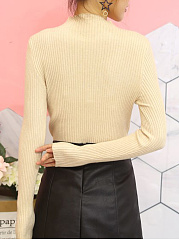 High Neck  Decorative Button  Plain  Long Sleeve Sweaters Pullover