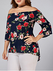 Open Shoulder  Floral  Half Sleeve Plus Size Blouse