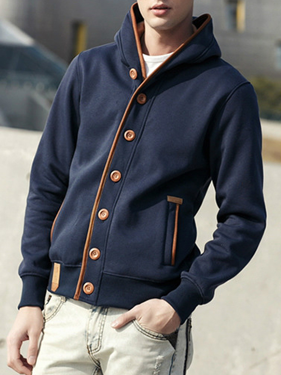 Men Hooded Contrast Trim Single Breasted Coat