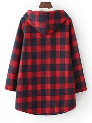Hooded  Single Breasted  Plaid  Long Sleeve Coats