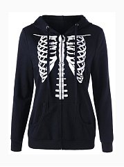 Autumn Spring  Cotton Blend  Zips  Printed  Long Sleeve Hoodies