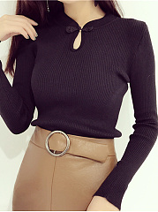 Band Collar Keyhole Sweater