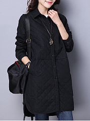 Plain Pocket Quilted Padded Coat
