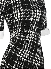 Turn Down Collar  Plaid Bodycon Dress