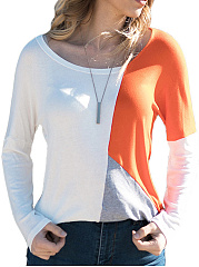 Autumn Spring  Polyester  Women  Round Neck  Color Block Long Sleeve T-Shirts