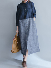 Turn Down Collar  Patchwork  Color Block  Denim Maxi Dress