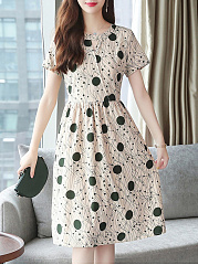 Round Neck  Abstract Print Polka Dot Printed Skater Dress