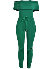 Solid Off Shoulder Drawstring Busted Knees Slim-Leg Jumpsuit