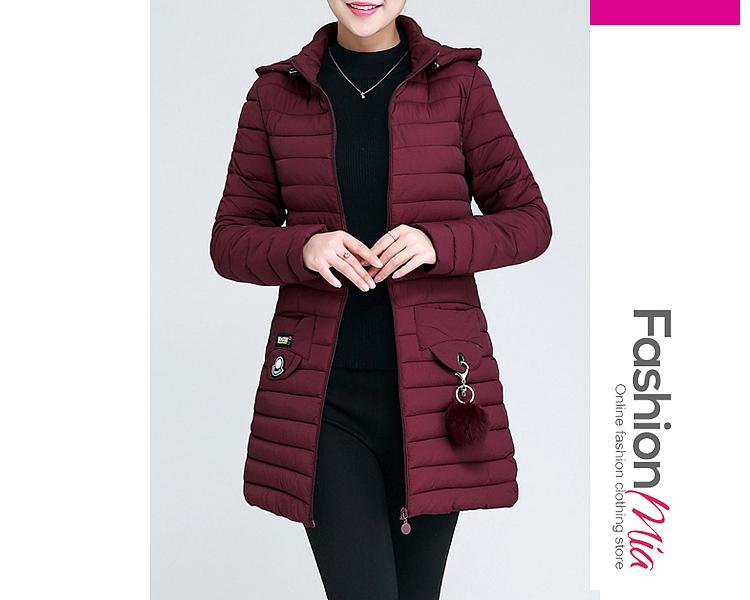 Hooded  Zips  Decorative Hardware  Plain  Long Sleeve Coats