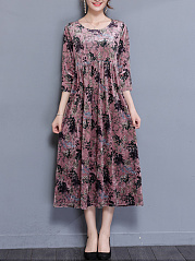 Round Neck  Ruffled Hem  Printed  Polyester Maxi Dress