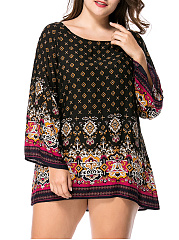 Round Neck Tribal Printed Mini Plus Size Shift Dress