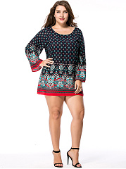 Round-Neck-Tribal-Printed-Mini-Plus-Size-Shift-Dress