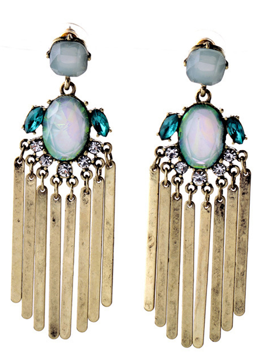 Metal Fringe Rhinestone Drop Earring