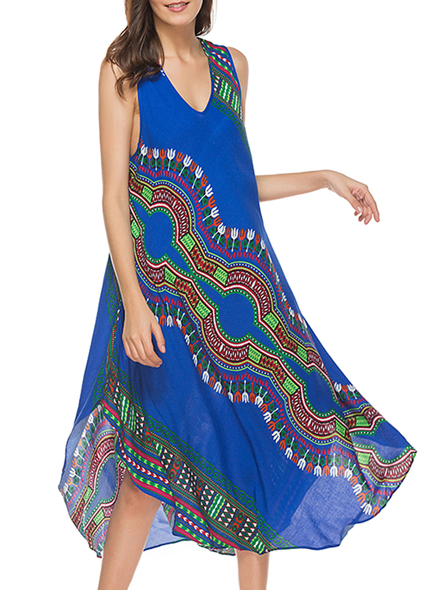 V-Neck Curved Hem Tribal Printed Maxi Dress