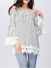 Autumn Spring  Polyester  Women  Open Shoulder  Decorative Lace Patchwork  Striped  Three-Quarter Sleeve Blouses