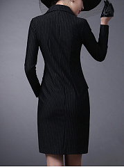 Lapel Double Breasted Vertical Striped Coat Dress
