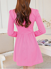 Band Collar  Ruffled Hem  Plain Skater Dress