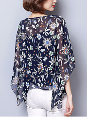 Round Neck  Printed Blouses