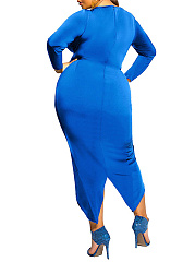 Crew Neck  Ruched  Plain Plus Size Bodycon Dresses