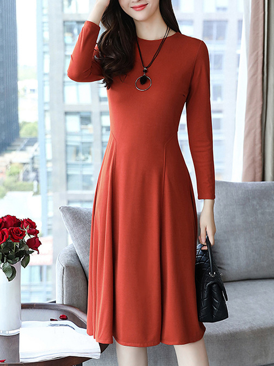 Round Neck  Plain  Polyester Skater Dress