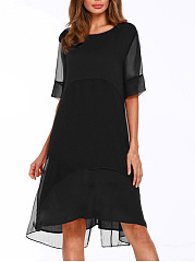 Round Neck See-Through Plain Two-Piece Shift Dress