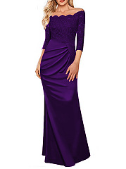 Formal Off Shoulder Ruched Solid Mermaid Evening Dress