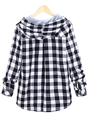 Oversized Plaid Patch Pocket Hoodie