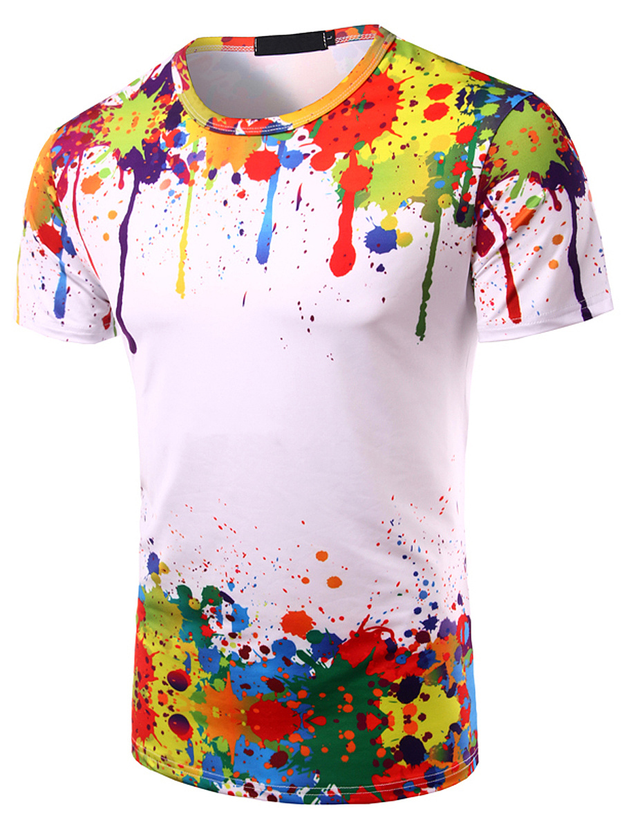Men Colorful Round Neck Printed Short Sleeve T-Shirt