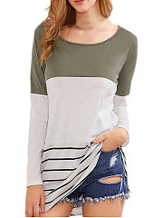 Patchwork  Striped Long Sleeve T-Shirts